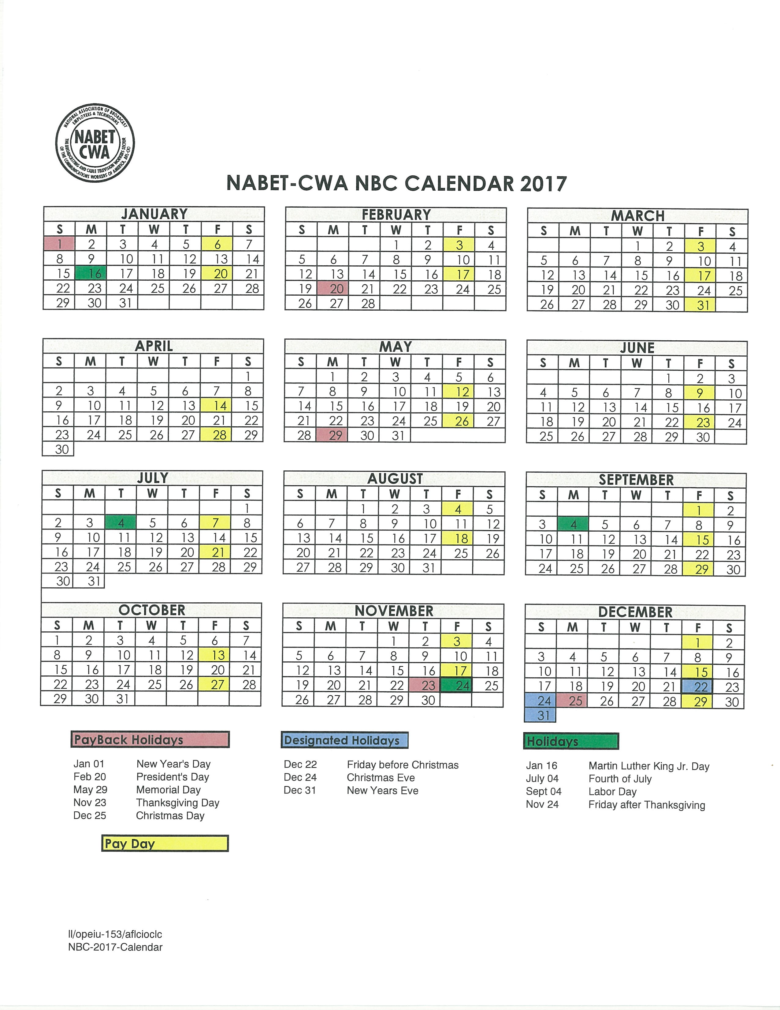 NBC VACATION CALENDAR 2016